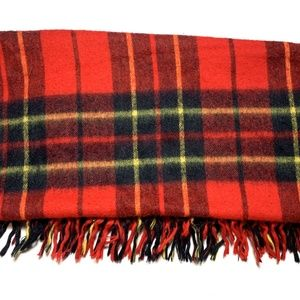 Vintage Plaid Tartan Throw Blanket Fringe Trim Red